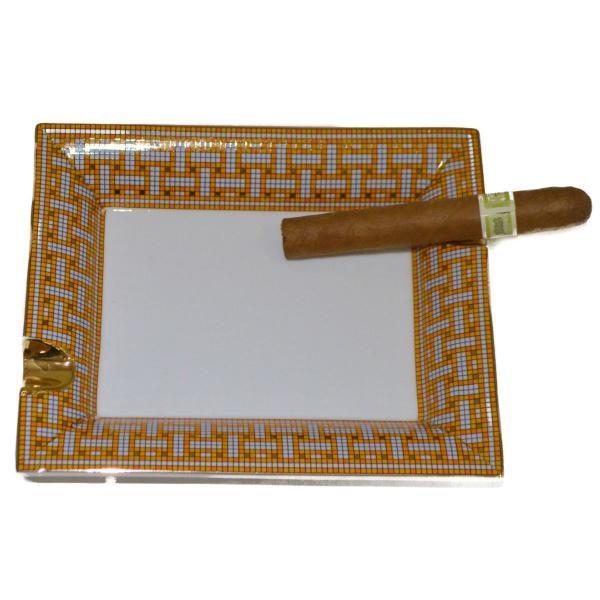 Orange And Gray Porcelain Rectangular Cigar Ashtray Boxed 2