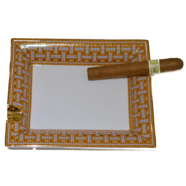 Orange And Gray Porcelain Rectangular Cigar Ashtray Boxed 1