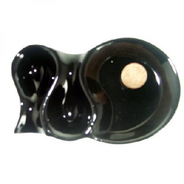 Two Position Gloss Black Pipe Ashtray With Cork Knocker 1