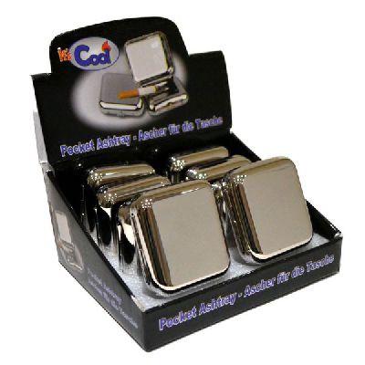 Cool Square Pocket Ashtray High Polish Chrome 1