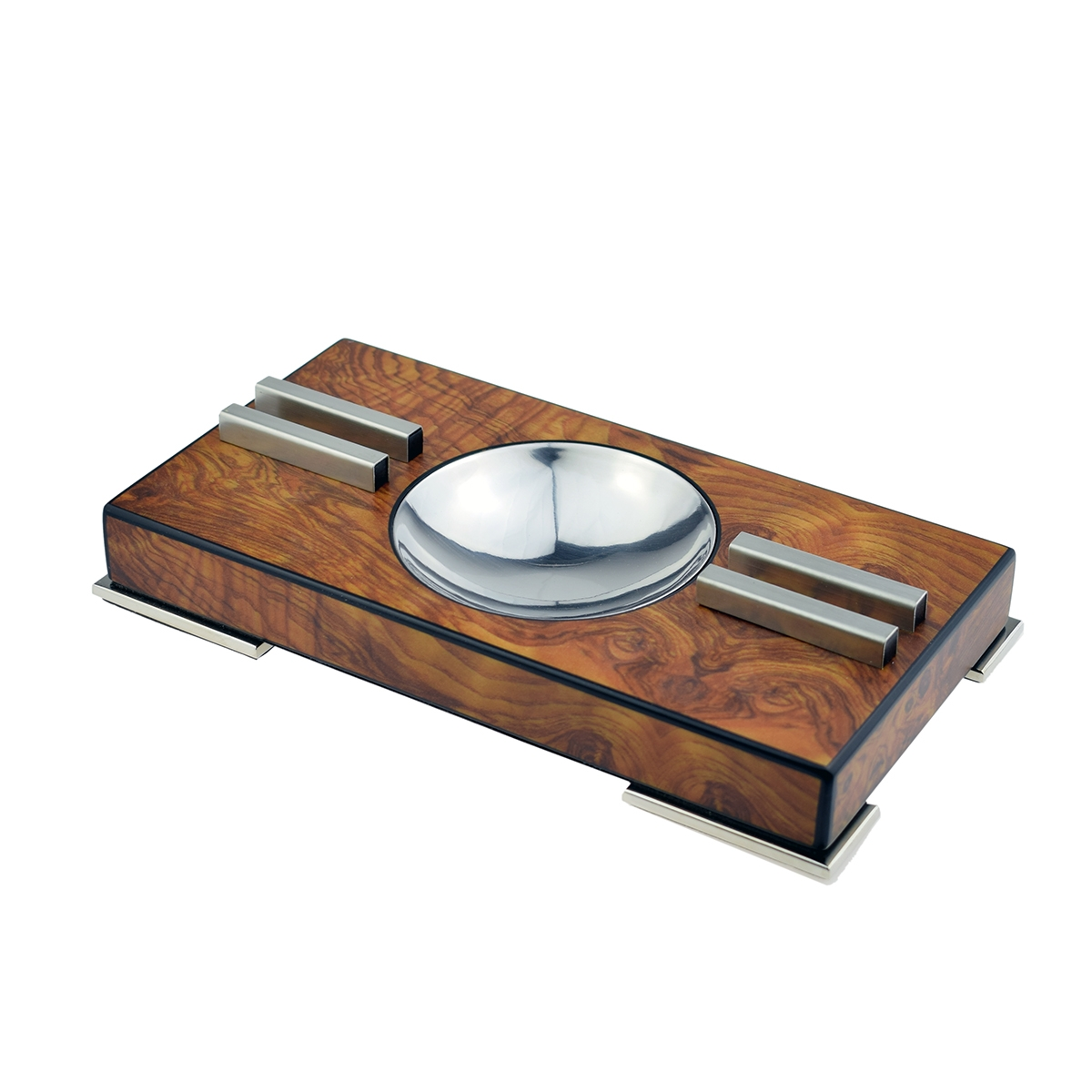 Elm Burl Polished Cigar Ashtray With Chrome Feet Boxed 1