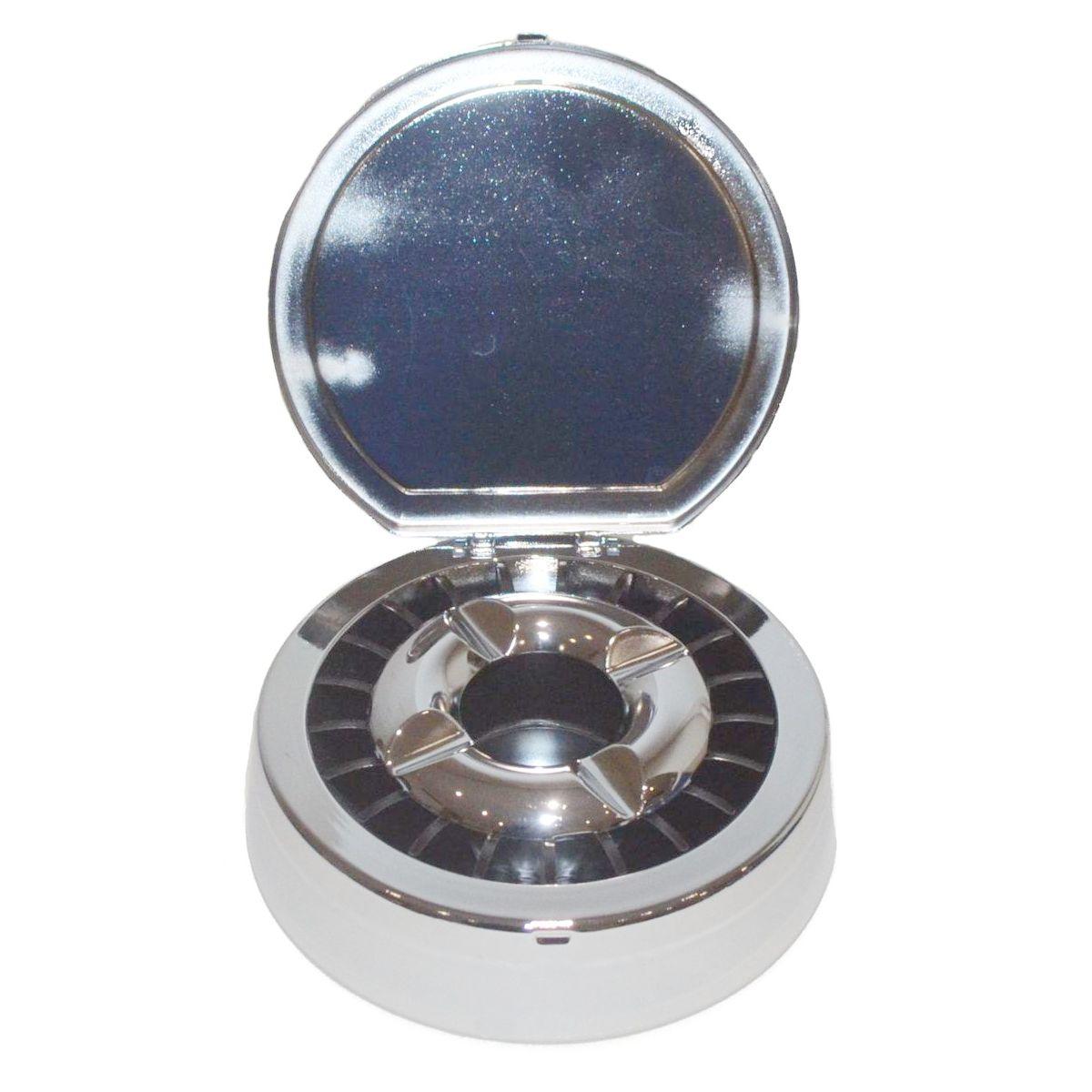 Engraveable 135mm Chrome Metal Flip Lid Ashtray Boxed 1