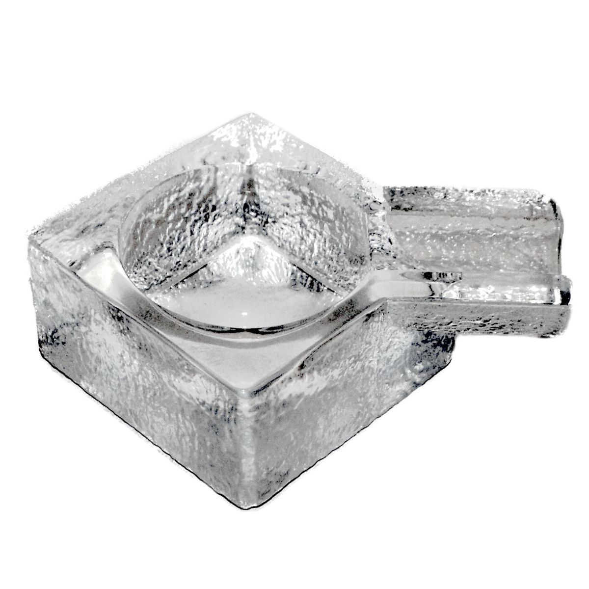 Clear Glass Square Cigar Ashtray With Single Rest Boxed 1