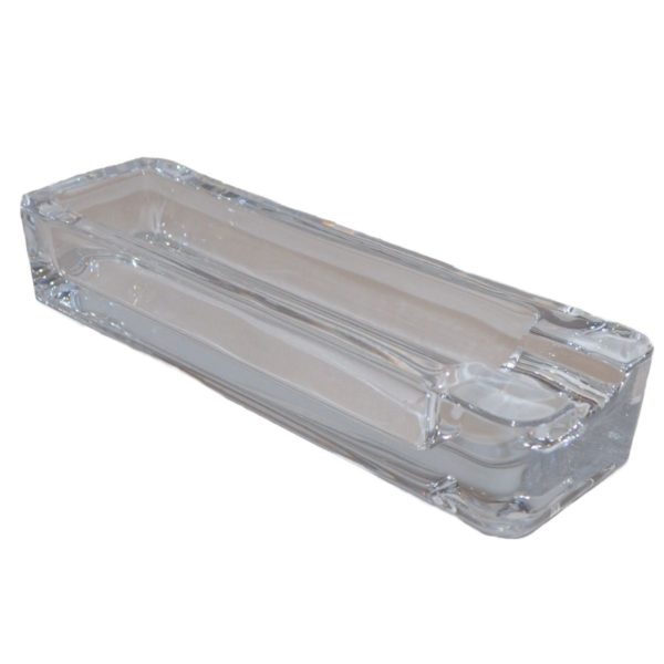 Clear Glass Rectangle Cigar Ashtray With Single Rest Boxed 2