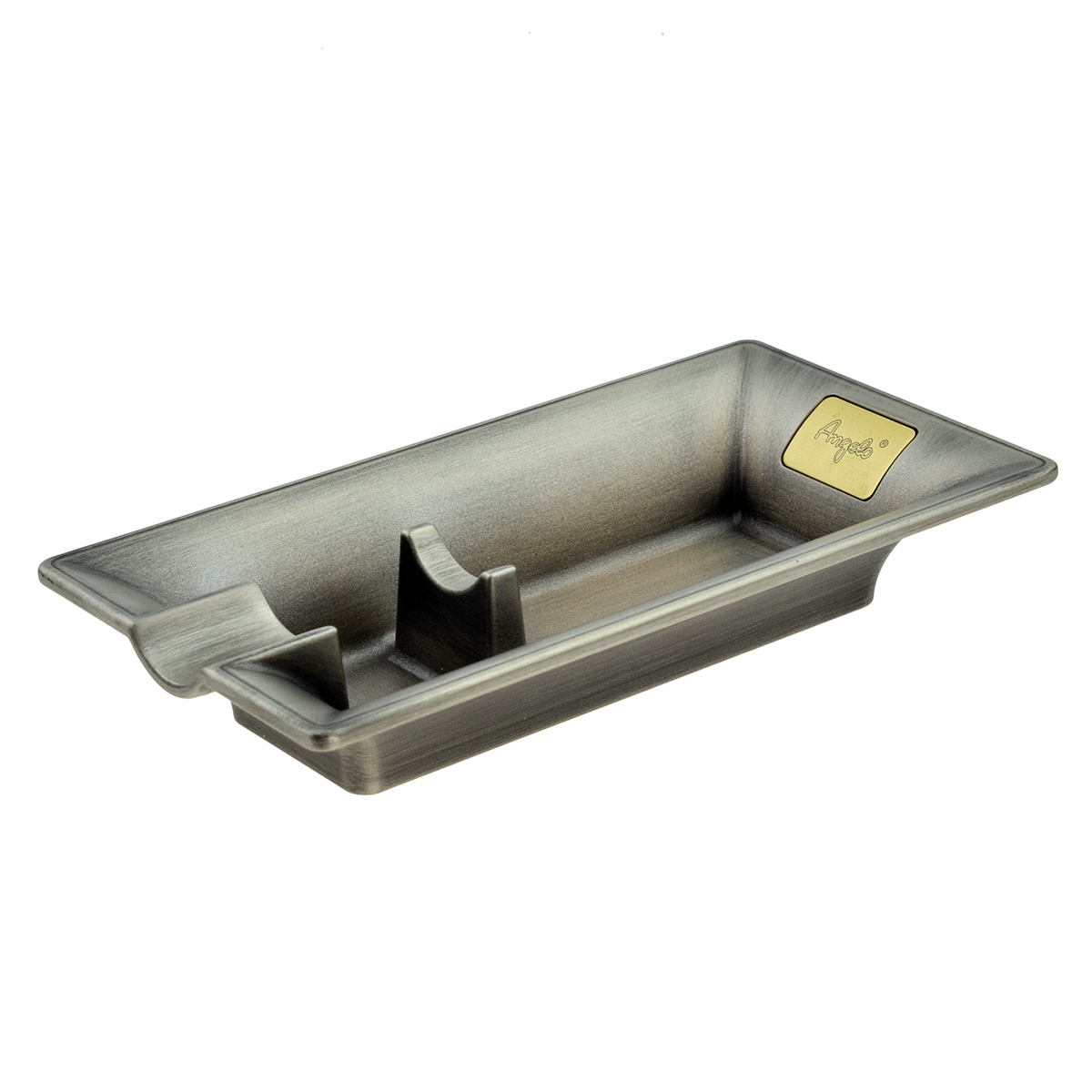 Cigar Ashtray Single Position Cast Metal Pewter Finish Approx 16 x 8.5cm Boxed 1