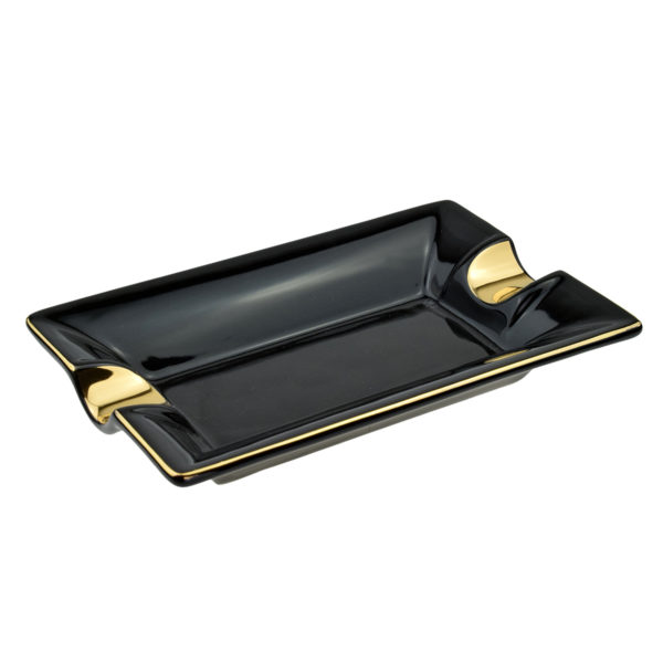 Cigar Ashtray Two Position Ceramic Black And Gold Colour Approx 18 x 12cm Boxed 2