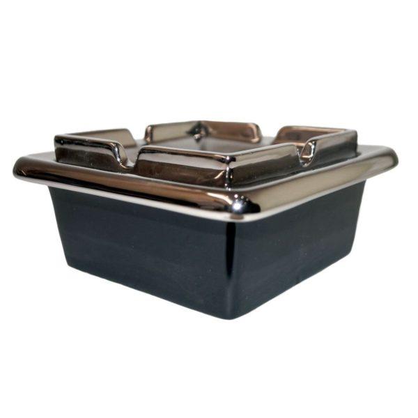 Ceramic Windproof 125mm Square Black & Chrome Ashtray Boxed 2