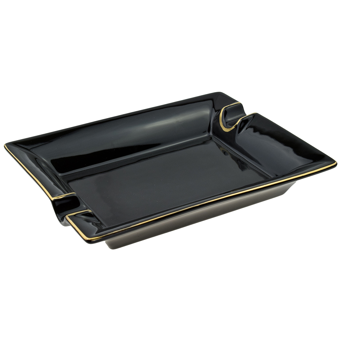 Cigar Ashtray Black And Gold Colour 2 Position Approx 21 x 17cm Boxed 1