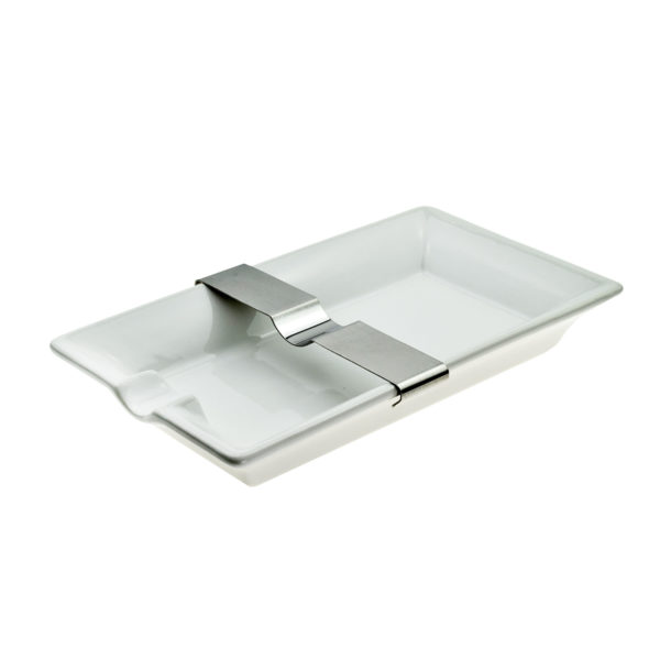 Cigar Ashtray White With Moveable Rest Approx 20 x 12cm Boxed 2