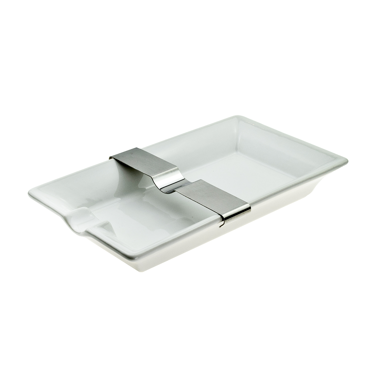 Cigar Ashtray White With Moveable Rest Approx 20 x 12cm Boxed 1