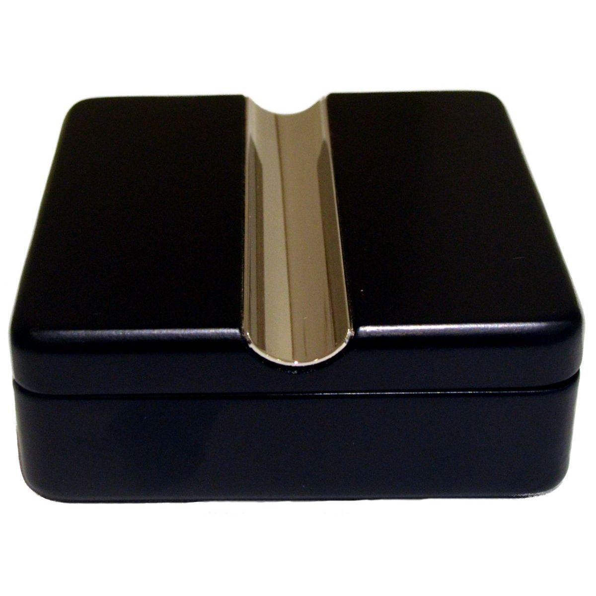 Cigar Ashtray 100mm Square Black Twist Lid Boxed 1