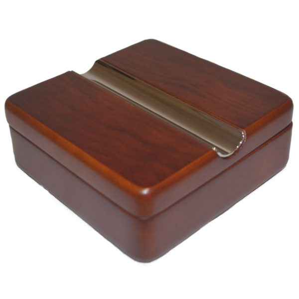 Cigar Ashtray 100mm Square Rosewood Twist Lid Boxed 2