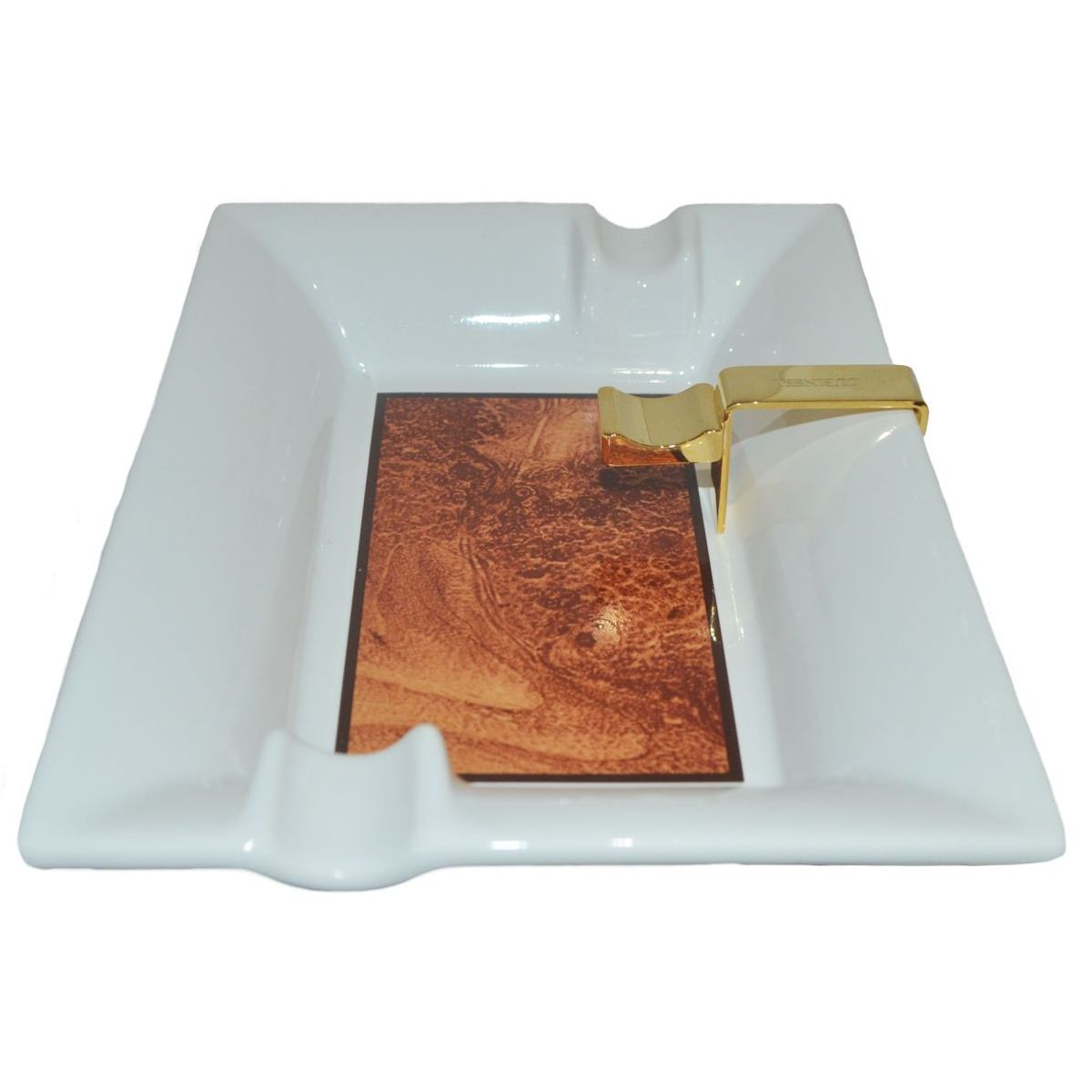 Cigar Ashtray Large Ceramic Burl Two Position With Metal Stand Boxed 1