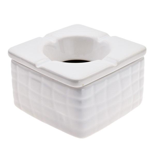 Ceramic 9cm Square Black & White Windproof Ashtray (Pack Of 6) 2