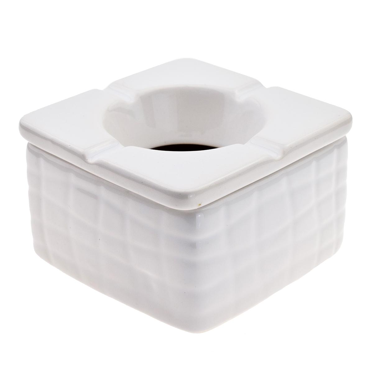 Ceramic 9cm Square Black & White Windproof Ashtray (Pack Of 6) 1
